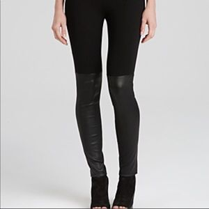 VINCE~ Mixed Media Leather Trimmed Leggings~S